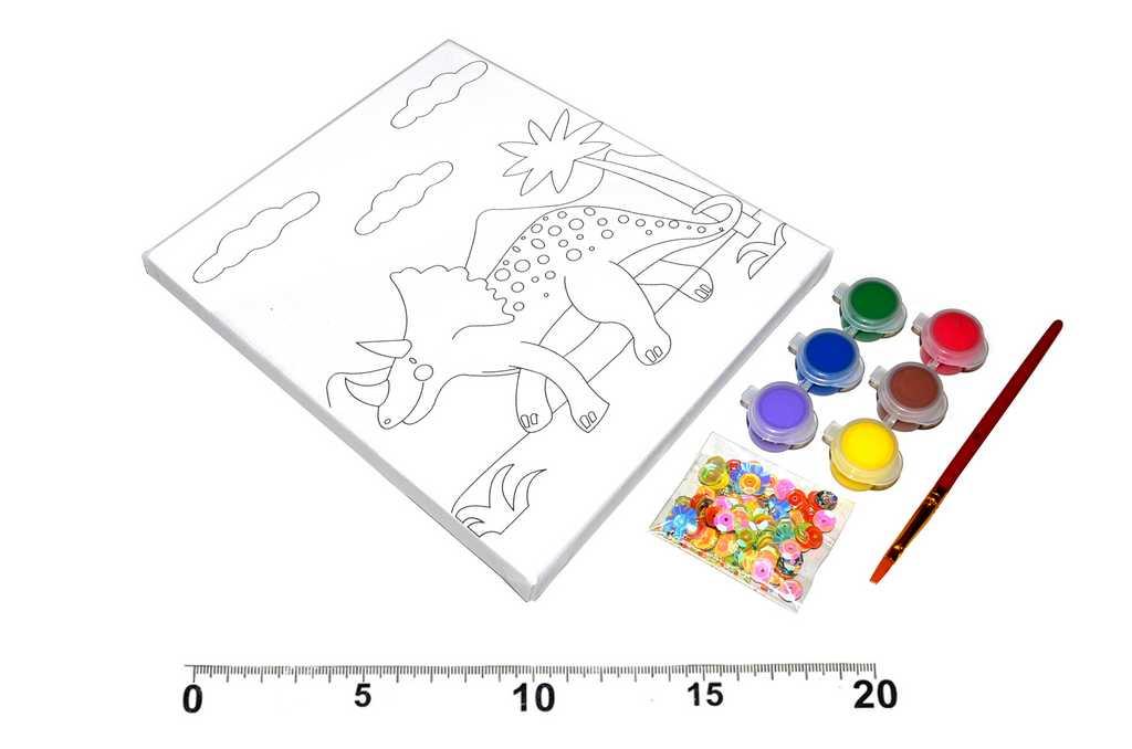 Malířské plátýnko dinosaurus 15x20 cm