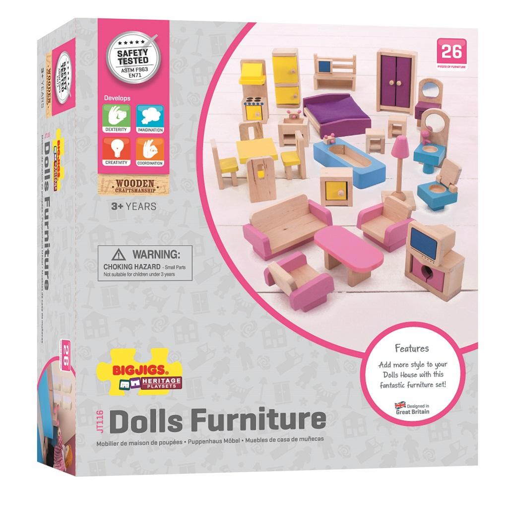 Bigjigs Toys Drevený nábytok do domčeku pre bábiky