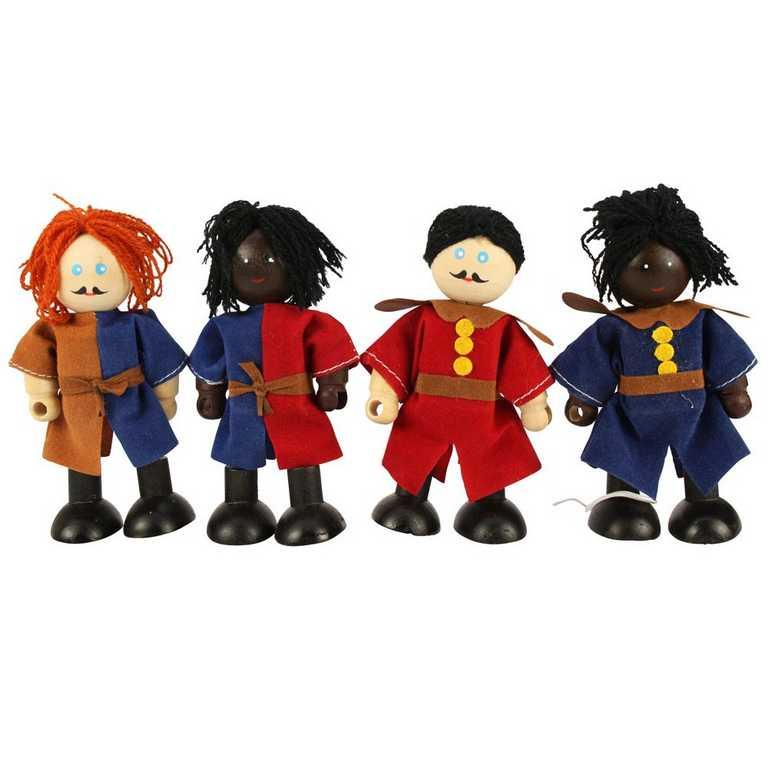 Bigjigs panenky - Set středověkých vojáků 4ks