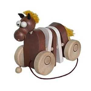 Dřevěné tahací hračky - Klapací koník