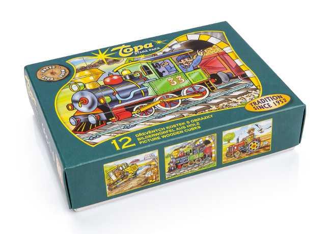 Dřevěné obrázkové kostky kubusy - Mašinka - 12 kostek