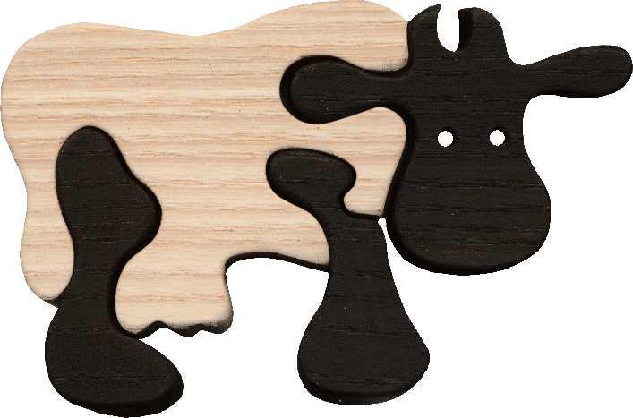 Dřevěné vkládací puzzle z masivu - Malá kráva černá