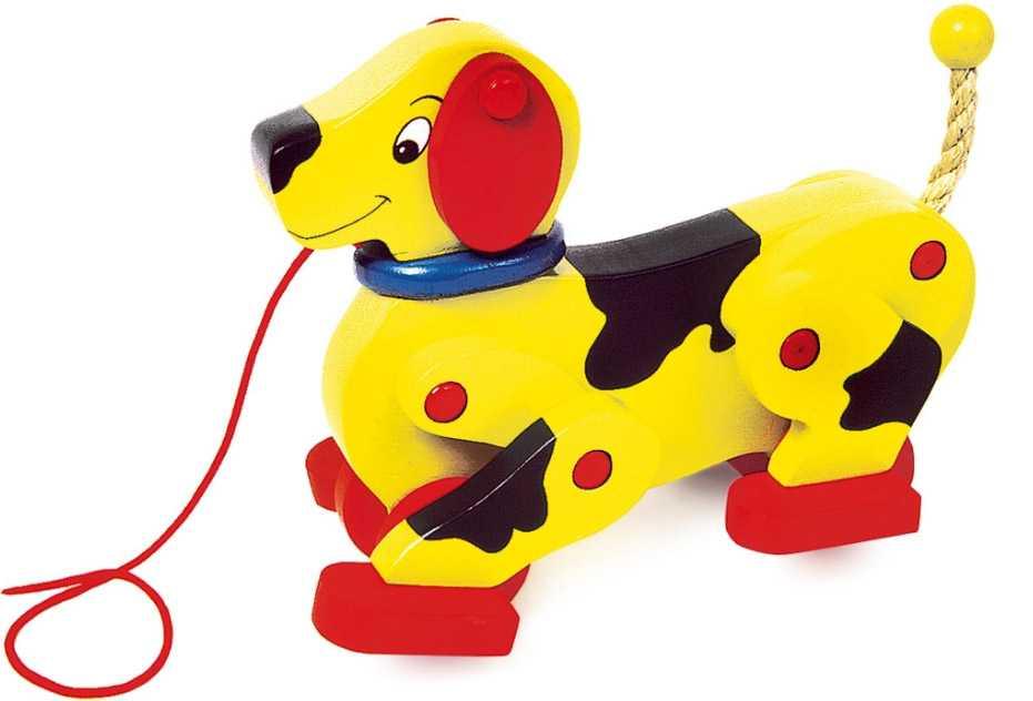 Small Foot Drevený ťahací chodiaci pes