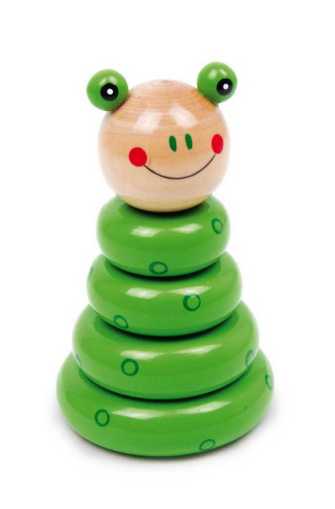 Small Foot Drevená motorická nasadzovacia hra zostaviteľná žaba
