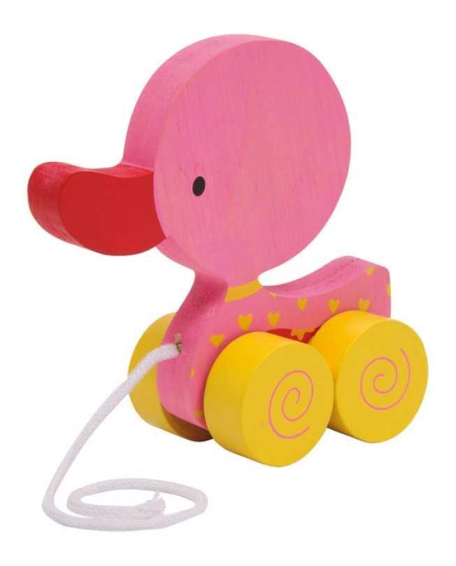 Small Foot Ťahacia hračka na povrázku - ružové kačiatko