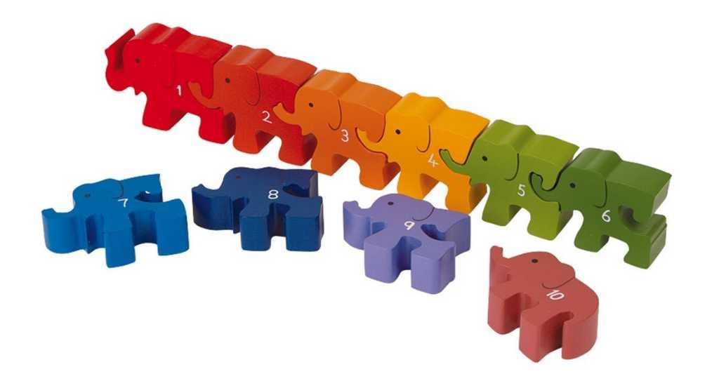 Small Foot Vkladacie puzzle - Slony s číslicami