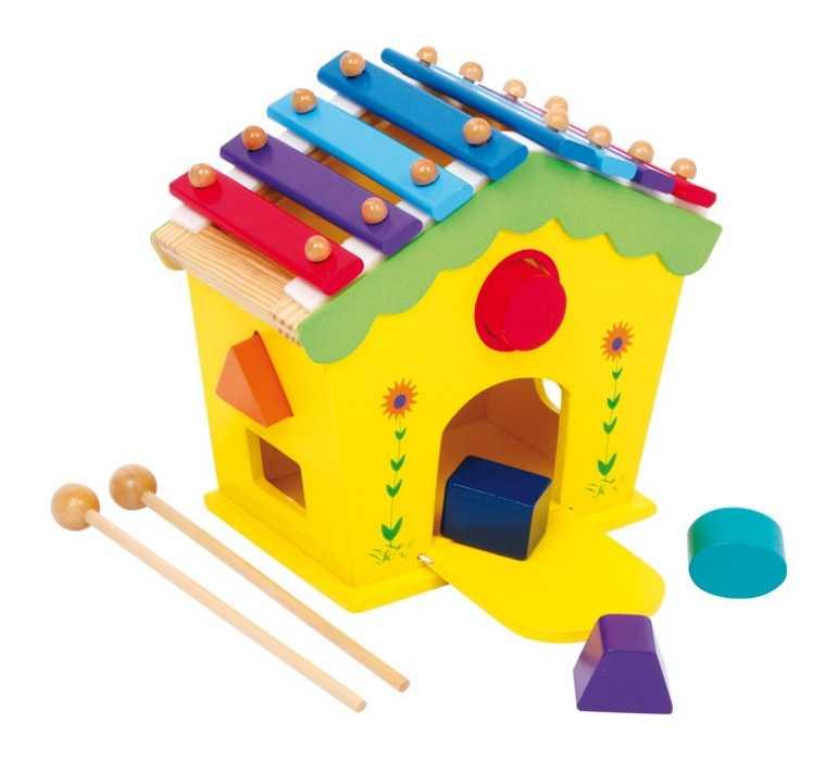 Small Foot Drevený domček vkladačka a xylofón