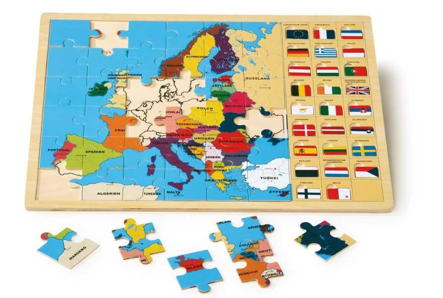 Small Foot drevené vkladacie puzzle - Európske štáty (po nemecky)