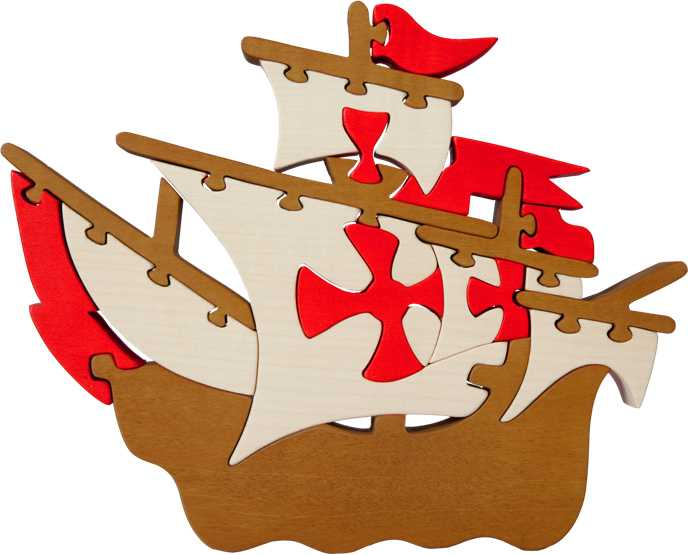 Dřevěné vkládací puzzle z masivu - Velká loď Santa Maria