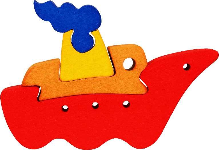 Dřevěné vkládací puzzle z masivu- vkládačka - Malá loďka