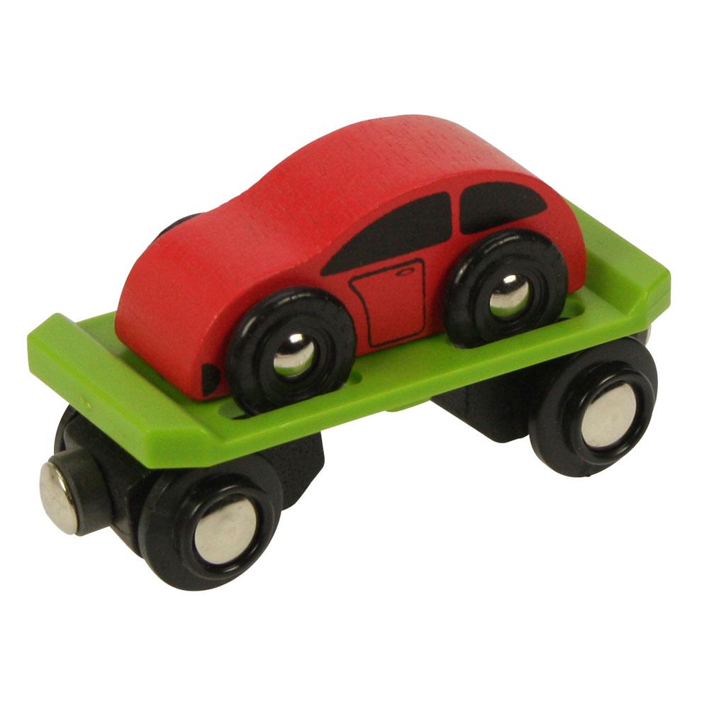 Vagonek vláčkodráhy Bigjigs - Vagon s autem + 2 koleje