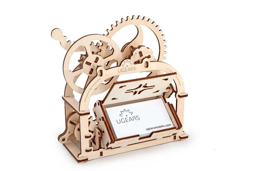 Ugears Drevená stavebnica 3D mechanické Puzzle - Box na vizitky
