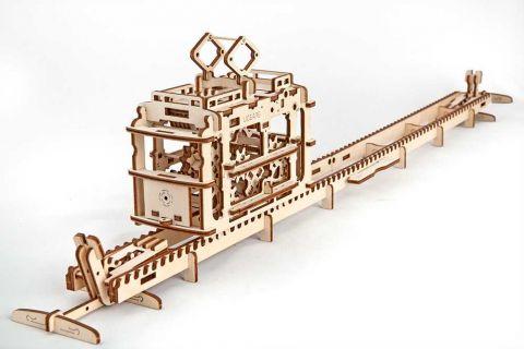 Ugears Drevená stavebnica 3D mechanické Puzzle Električka
