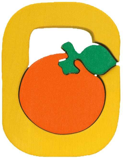 Dřevěné vkládací puzzle z masivu- Abeceda písmeno O pomeranč