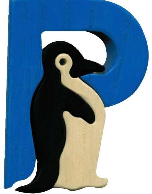 Dřevěné vkládací puzzle z masivu- Abeceda písmeno P tučňák