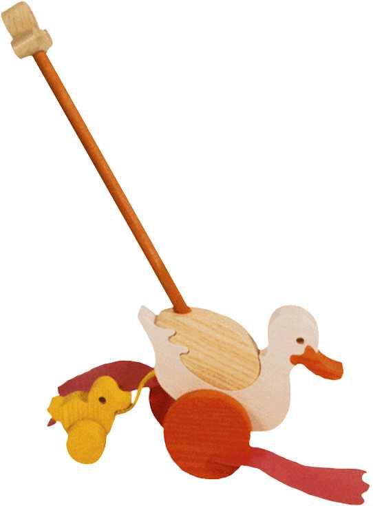 Dřevěné tahací hračky - plácačka - Kačena s káčátkem