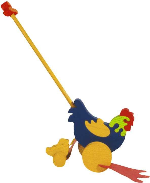 Dřevěné tahací hračky plácačka - Slepička s kuřátkem