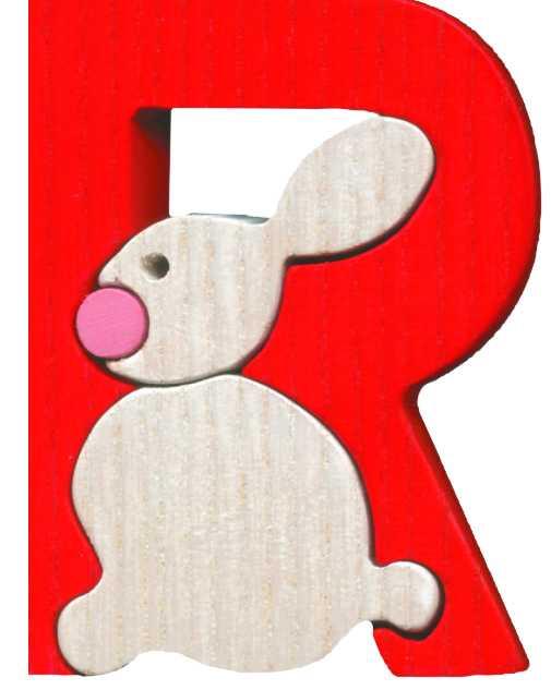 Dřevěné vkládací puzzle z masivu- Abeceda písmenko R zajíc