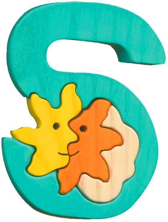 Dřevěné vkládací puzzle z masivu- Abeceda písmeno S sluníčko