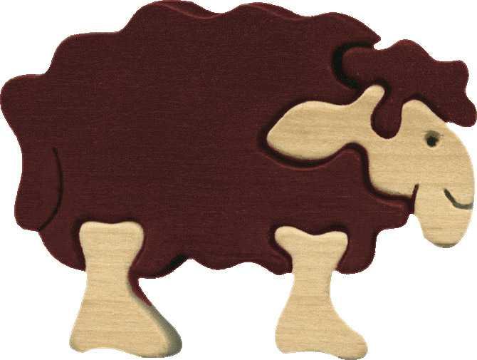 Dřevěné vkládací puzzle z masivu - Malá ovečka Shaun