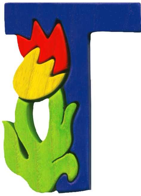 Dřevěné vkládací puzzle z masivu- Abeceda písmenko T tulipán