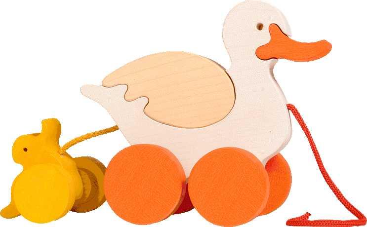 Dřevěné tahací hračky z masivu - Kačena s káčátkem
