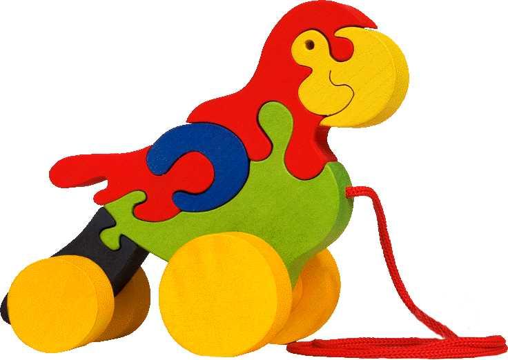 Dřevěné tahací hračky z masivu - Papoušek