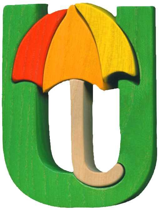 Dřevěné vkládací puzzle z masivu- Abeceda písmenko U deštník