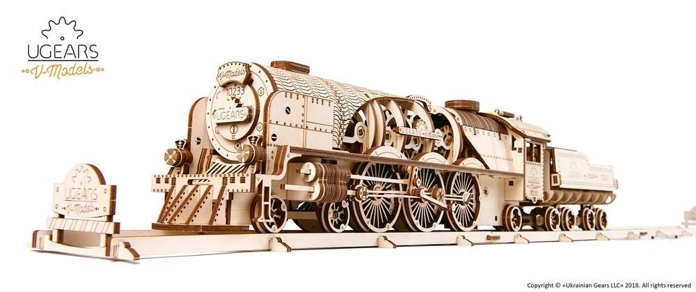 Ugears Drevená stavebnica 3D mechanické puzzle V-Express parná lokomotíva