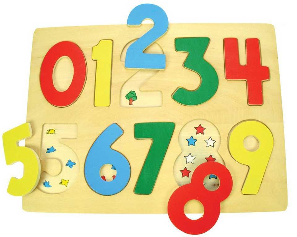 Dřevěné vkládací puzzle Bigjigs - Počítání s obrázky
