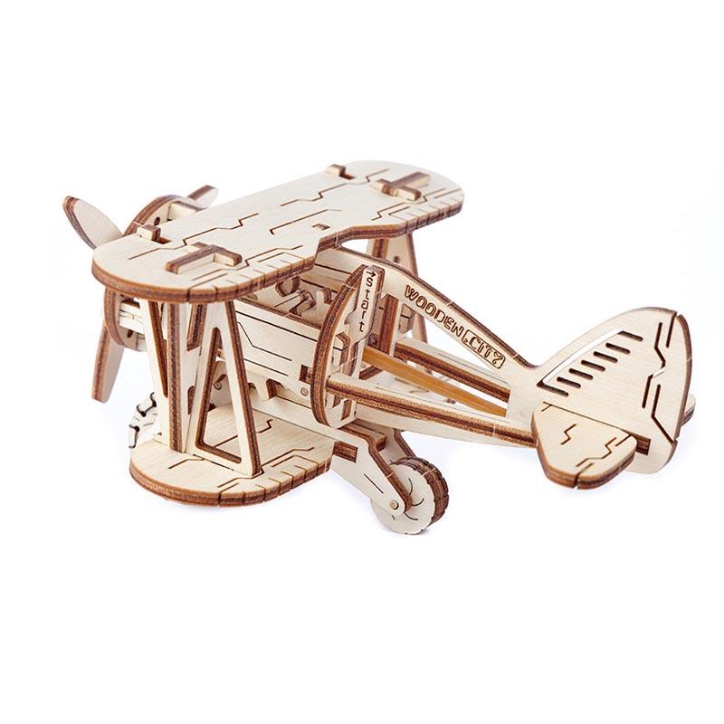 Wooden City 3D mechanické puzzle - Dvojplošník