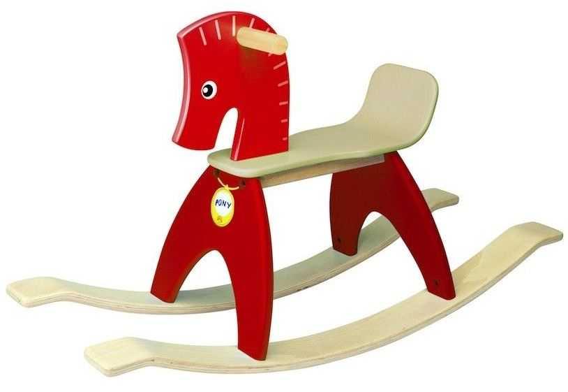 Dřevěný houpací kůň červený