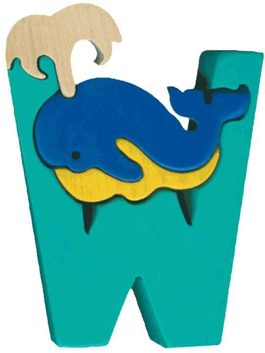Dřevěné vkládací puzzle z masivu - Abeceda písmeno W velryba