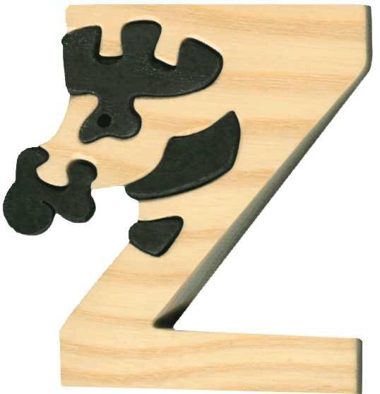 Dřevěné vkládací puzzle z masivu - Abeceda písmenko Z zebra
