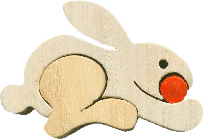 Dřevěné vkládací puzzle z masivu - Malý Zajíc