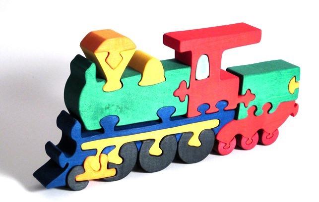 Dřevěné vkládací puzzle z masivu -  Lokomotiva