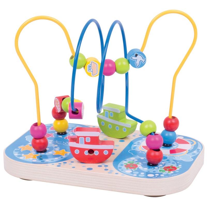 Bigjigs Toys dřevěný motorický labyrint moře