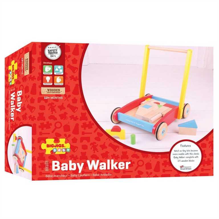 Bigjigs Toys chodítko - Kostky ve vozíku