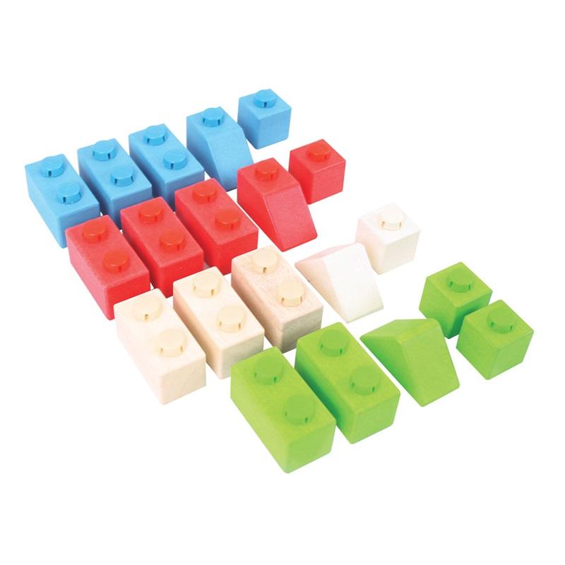 Bigjigs Toys dřevěné Spojkostky - Primary set