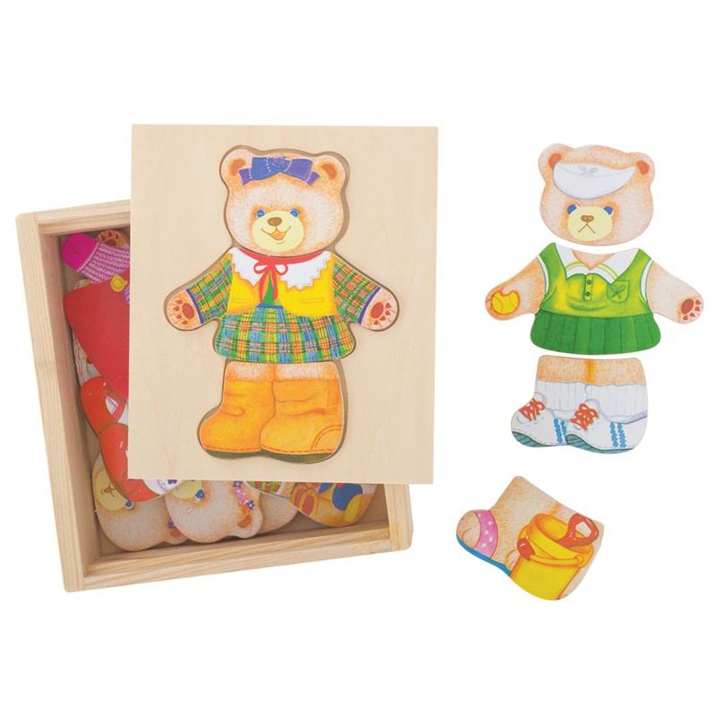 Bigjigs Toys oblékací puzzle v krabičce - Paní Medvědice