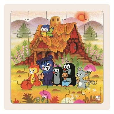 Dřevěné puzzle paní Krtečková a přátelé 20 dílků