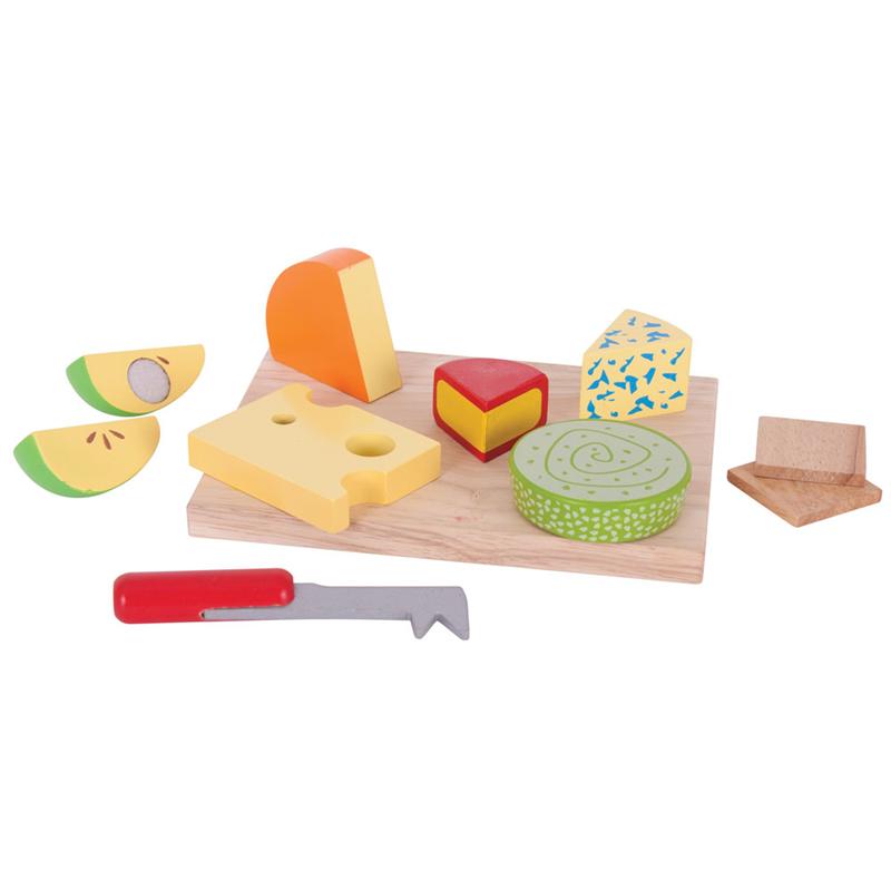 Bigjigs Toys dřevěné potraviny - sýry na desce