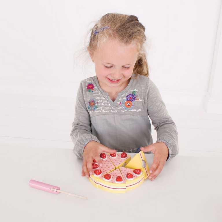 Bigjigs Toys - Dřevěný krájecí dort s jahodama