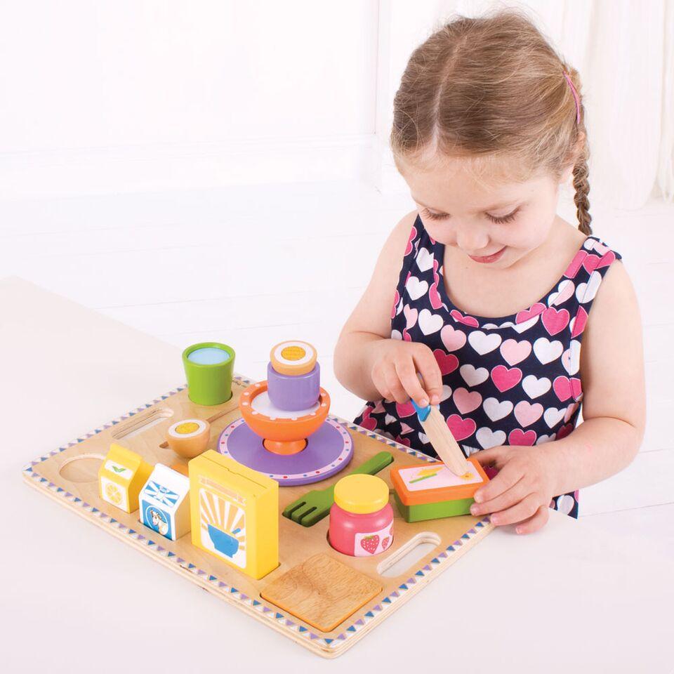 Bigjigs Toys potraviny - Snídaně na podnose - puzzle 14 dílů