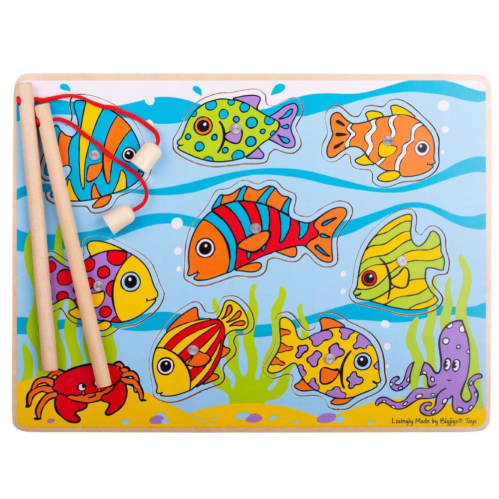 Bigjigs Toys dřevěná hra - Chytání rybiček na desce