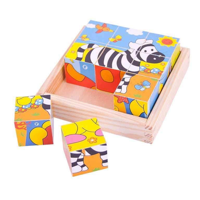 Bigjigs Toys obrázkové kostky kubusy - Safari - 9 kostek