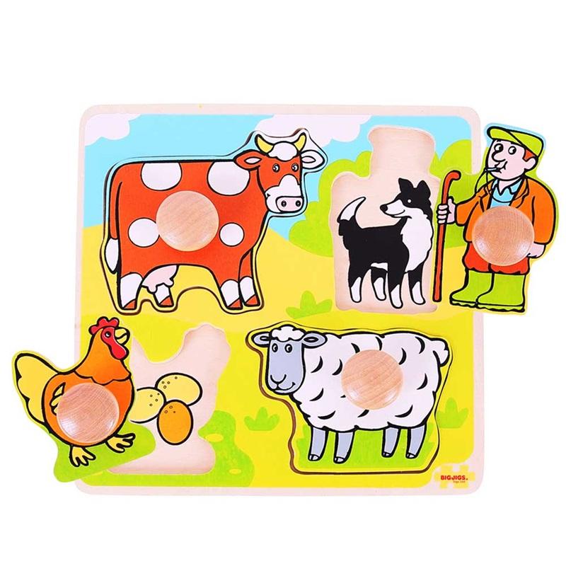 Dřevěné hračky - Vkládací puzzle - Farma