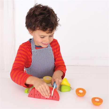 Bigjigs Toys dřevěné krájecí ovoce se zástěrou