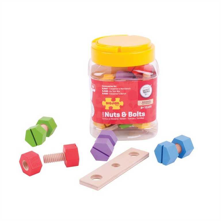 Bigjigs Toys nařadí - Dřevěný spojovací materiál v dóze