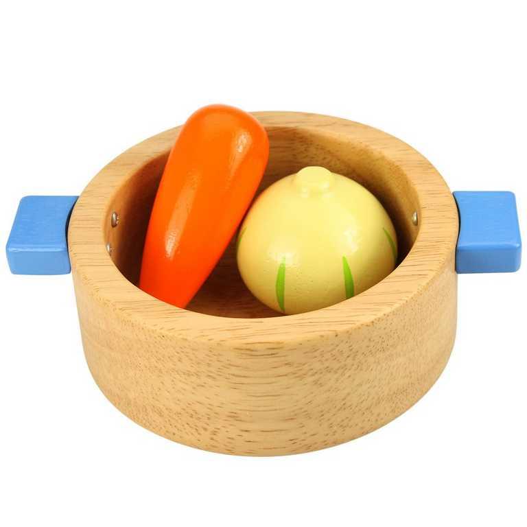 Bigjigs dřevěný hrnec s potravinami